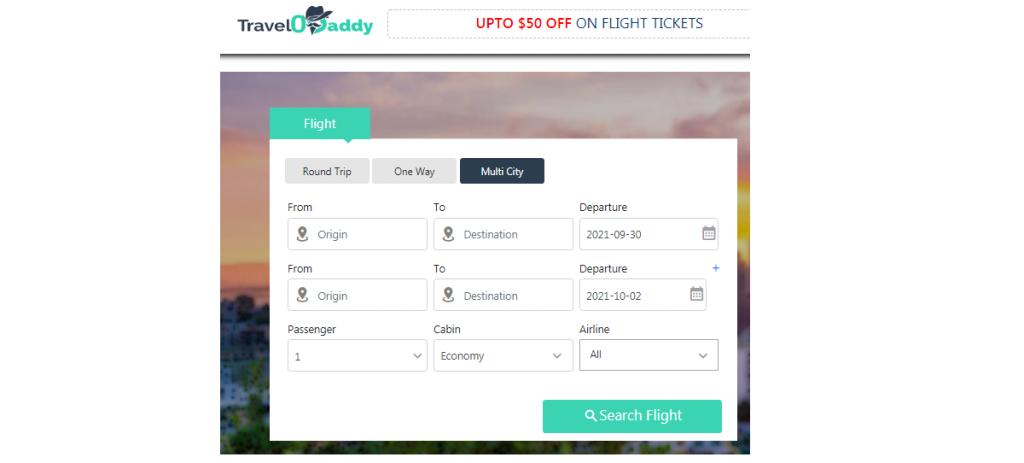Multi-city-flight Reservation at Travelodaddy.com